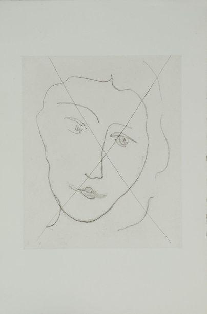 Henri MATISSE (1869-1954) Jeune femme mélancolique (Portrait de Nadia), 1948 Vernis...