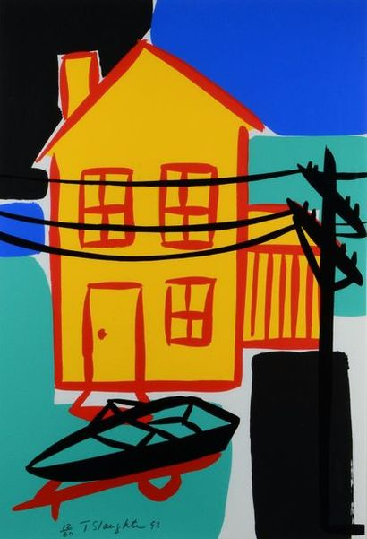 Tom SLAUGHTER (1955-2014) Summer; Red interior - yellow interior - car and cart Portfolio...