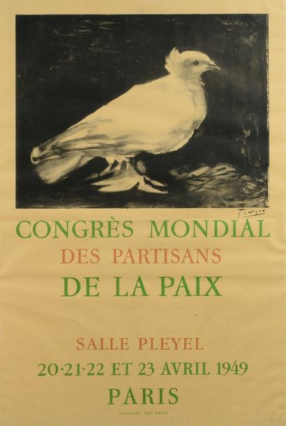 Pablo PICASSO (1881-1973) d'après World Congress of Peace Supporters, 1949 Poster,...