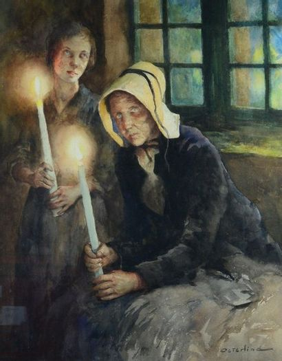 Alan OSTERLIND (1855-1938) The vigil at Bréhat Watercolour, signed lower left. 68...