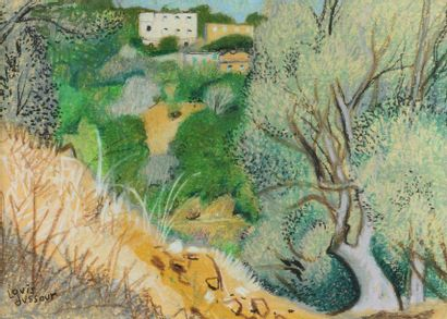 Louis DUSSOUR (1905-1986) Les oliviers Crayon et pastel, signé en bas à gauche. 30...