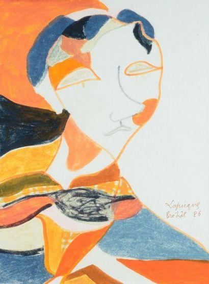 Charles LAPICQUE (1898-1988) Portrait, 1986 Watercolour and gouache, signed lower...