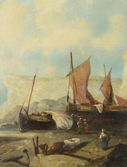 ÉCOLE FRANÇAISE du XIXe siècle, dans le goût d'ISABEY Marine Oil on panel. 28 x 22.5...