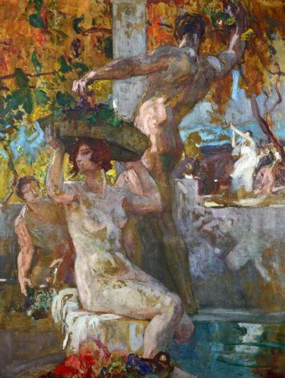 *Édmond LESELLIER (1885-1920) Les vendanges, allegorical scene Oil on canvas, signed...