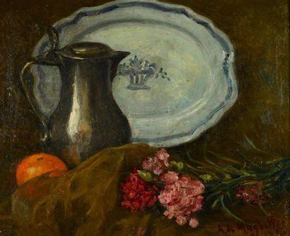 Alfred de MAGHELLEN (1871 -?) Nature morte à l'orange et aux fleurs Huile sur toile,...