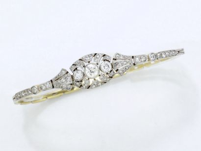 Bracelet articulé en or 750 et platine 850...