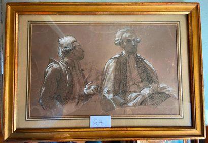 Ecole du XIXème siècle  Avocats  Fusain et...