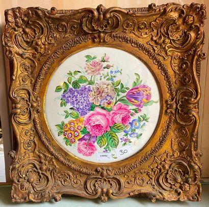 Plaque peinte à décor floral  46 x 46 cm...