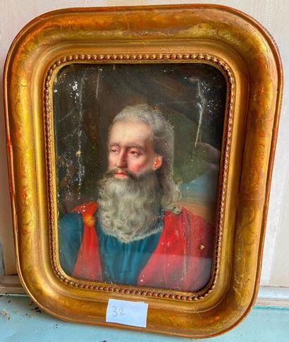 Portrait d'homme en toge rouge  Huile sur...