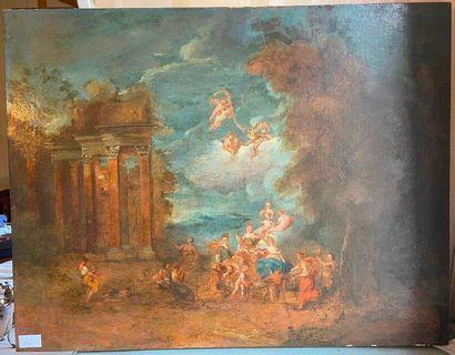 Ecole du XIXème  Triomphe de Flore, scène...