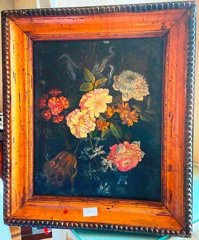Bouquet de fleurs  Huile sur toile  Cadre...