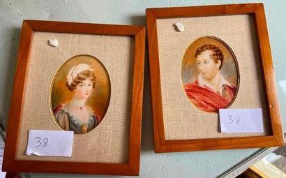 Deux miniatures représentant un portrait...