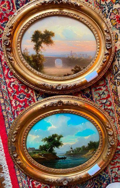 Deux paysages ovales fixé sous verre  18...
