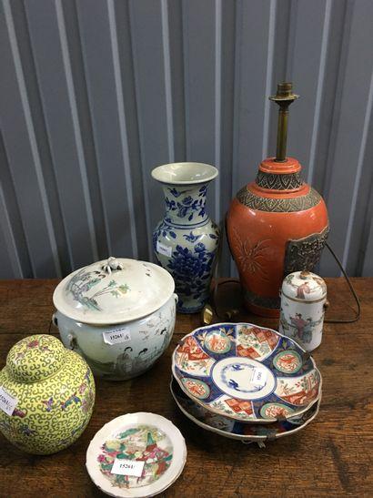 Lot céramiques Asie : Canton, pot couvert...