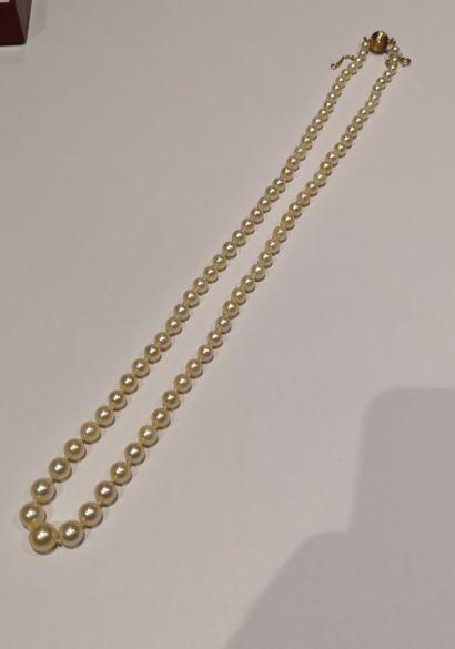 Collier de perles de culture, fermoir boule...
