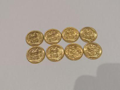 8 Souverain or datés 1908 (x6) et 1912 (x2)...