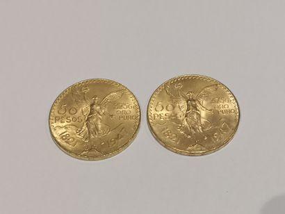 2 pièces de 50 Pesos or 1821-1947  Frais...