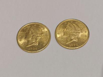 2 pièces de 20 dollars or datées 1896 et...