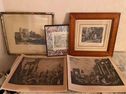 Quatre gravures  - Villa Albobrandine  -...