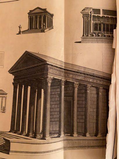 Ensemble de gravure (vue d'architecture, monnaie…)