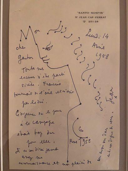 JEAN COCTEAU Lettre autographe signée  1958  30 x 22 cm  20 x 13,5 cm