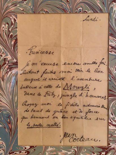 JEAN COCTEAU Lettre autographe signée  28 x 19 cm  40 x 41 cm