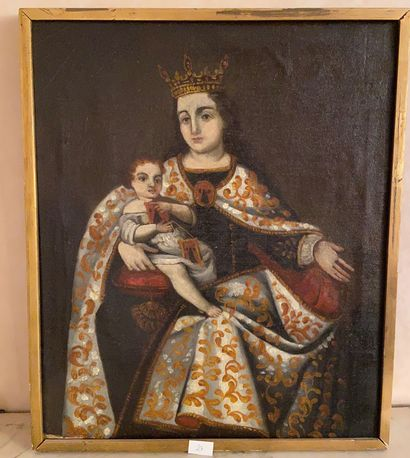 Ecole espagnole vers 1700  Vierge à l'enfant...