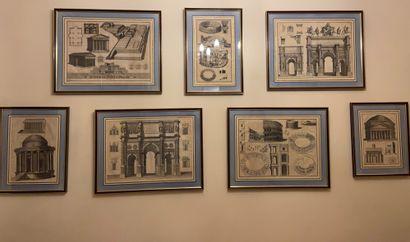 Suite de neuf gravures d'architectures