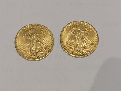 2 pièces de 20 dollars or datées 1924