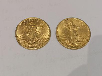 2 pièces de 20 dollars or datées 1908 usures...
