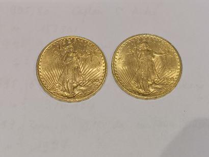 2 pièces de 20 dollars or datées 1908 et...