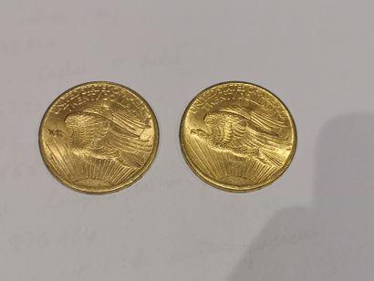 2 pièces de 20 dollars or datées 1907 usures...