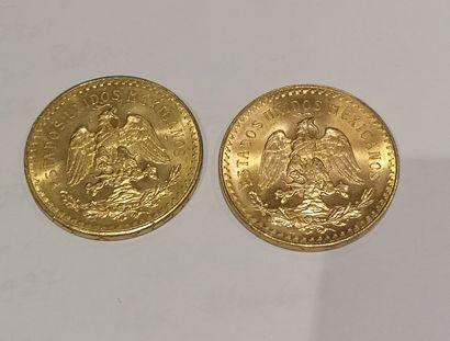2 pièces de 50 Pesos or 1821-1947 usures