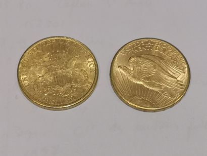 2 pièces de 20 dollars or datées 1899 et 1909
