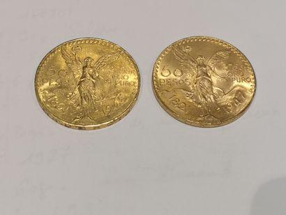 2 pièces de 50 Pesos or 1821-1947 et 1821-1945...