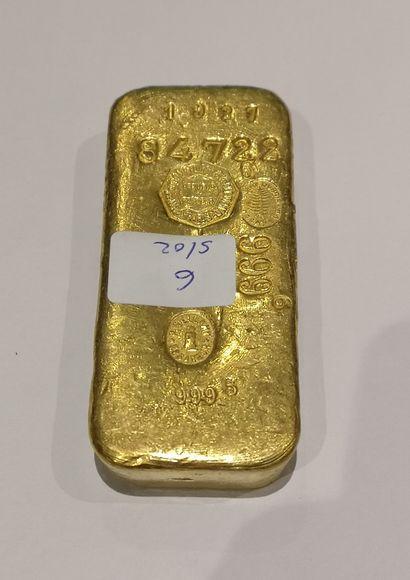Lingot en or n°84722 999.6 g. Comptoir Lyon...
