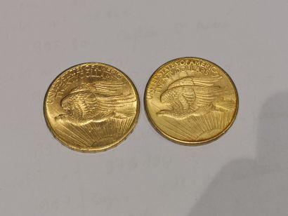 2 pièces de 20 dollars or datées 1908 usures