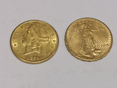 2 pièces de 20 dollars or datées 1899 et...