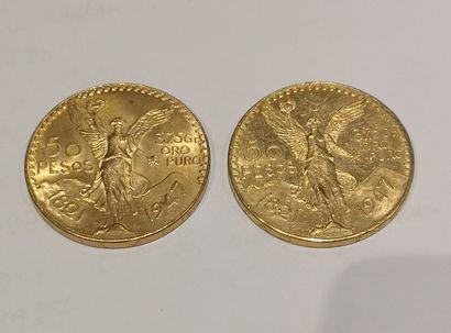 2 pièces de 50 Pesos or 1821-1947 usures...