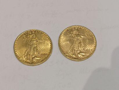 2 pièces de 20 dollars or datées 1914 et...