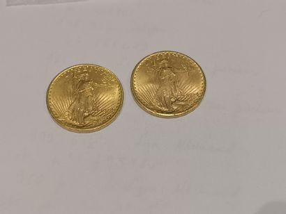2 pièces de 20 dollars or datées 1924 usures...