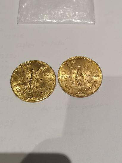 2 pièces de 50 Pesos or 1821-1943 et 1821-1947...