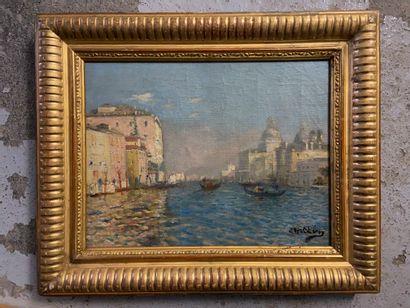 Vue de Venise  Huile sur toile, signée en...