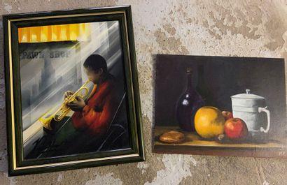Joueur de saxo  Huile sur toile, signé en...