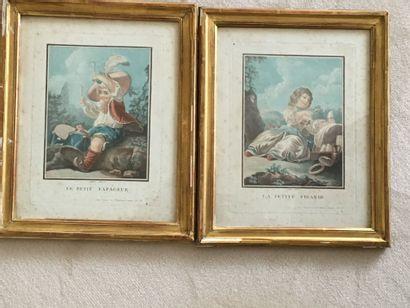 Paire de gravures en couleurs : Le Tapageur...