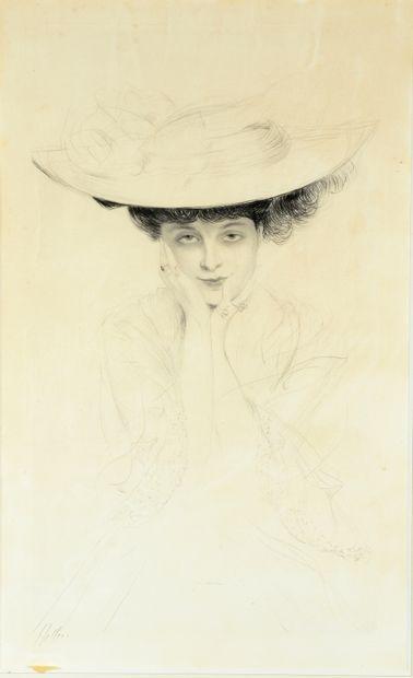 Paul César HELLEU (1859-1927)  Femme au chapeau...