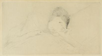 Paul César HELLEU (1859-1927)  Femme buvant...