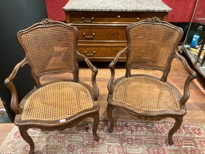 Pair of cane armchairs Rhone Valley, Louis...