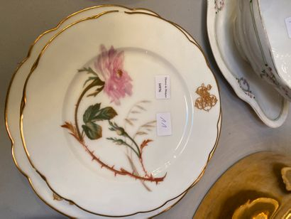 Set including a porcelain coffee service part, decorated in pink and gold, lid of...