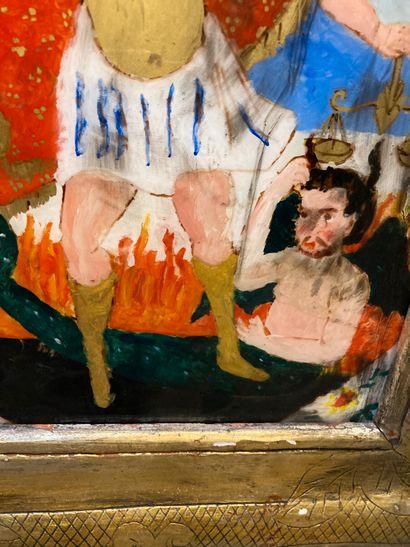 Saint Michael  Fixed under glass  50 x 30 cm  Gilded wood frame (splinters)  Accidents...